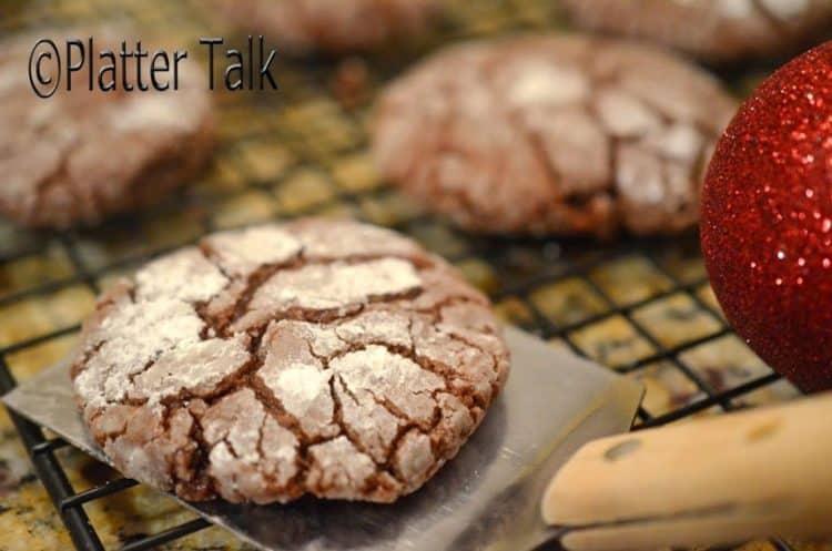 A cooling rack of fudge crinkle cookies.
