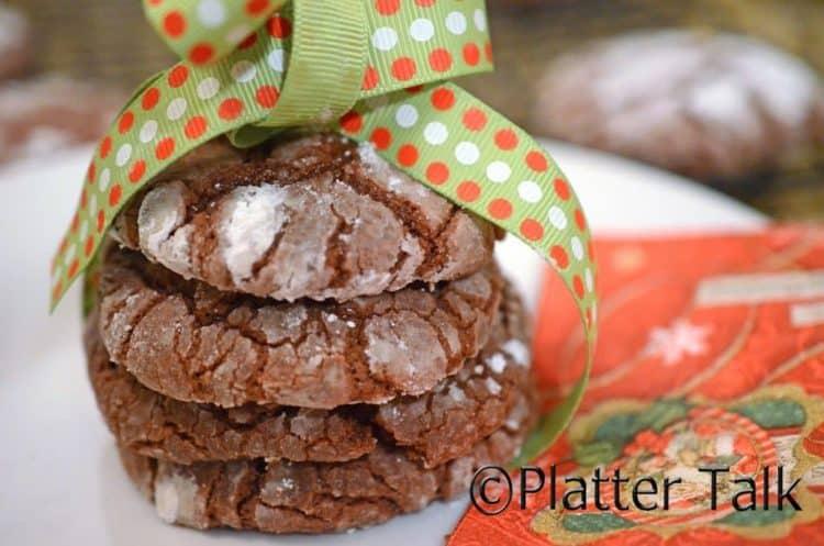 A stack of fudge crinkle cookies.