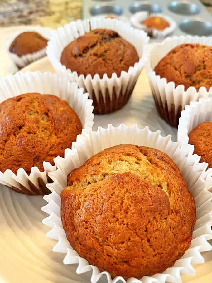 Banana muffins are easy to make.