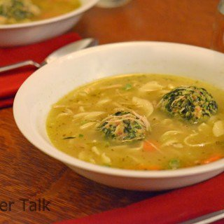 Spinach Dumplings in Chicken Noodle Soup