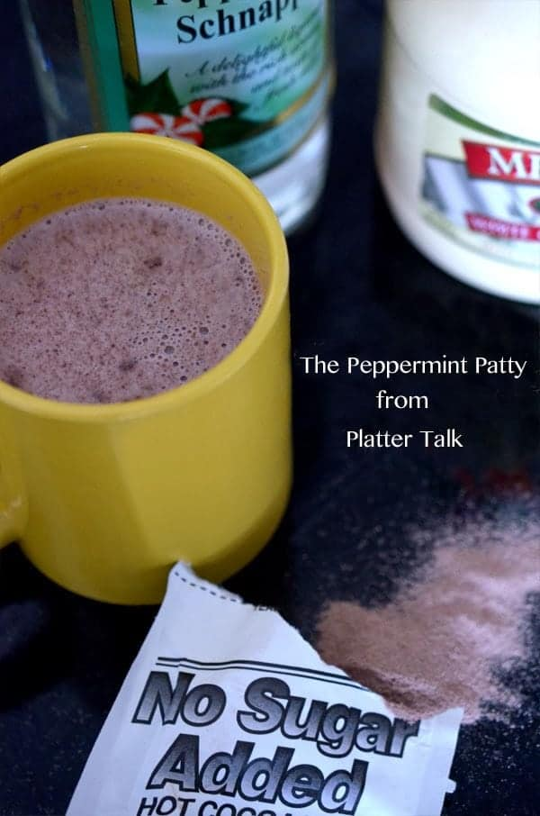 The peppermint patty drink is a peppermint schnapps recipe that uses hot cocoa mix and peppermint schnapps, along with a flavored liqueur.