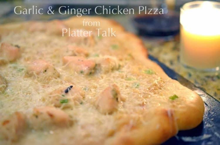 a garlic ginger chicken pizza