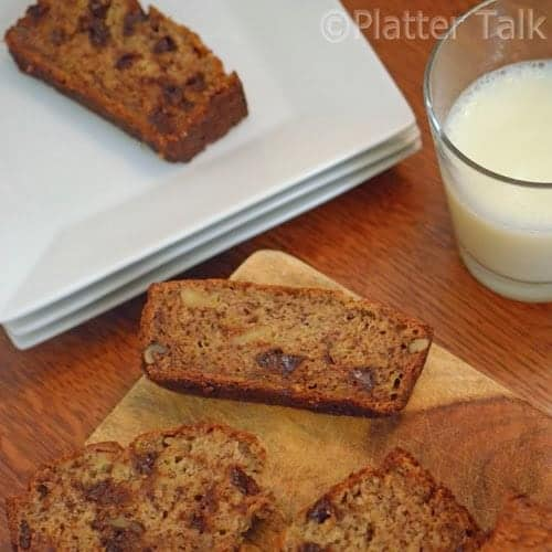 The best banana bread with milk.