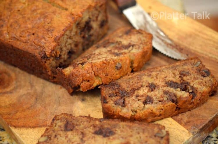 The best banana bread is served warm from the oven.