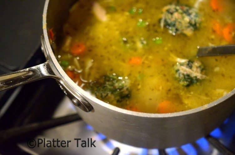 Spinach Dumplings in Chicken Noodle Soup Recipe