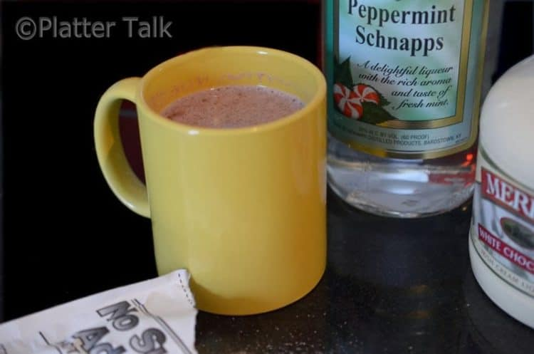 Try this peppermint patty drink, made with hot chocolate, peppermint schnapps, and chocolate liqueur.