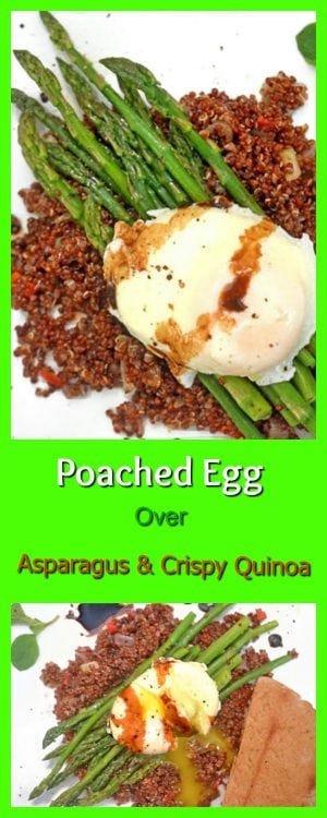Asparagus and eggs served over crispy quinoa is found at the intersection of healthy and beauty. This simple breakfast or lunch idea is sure to please both the eyes and the palate!