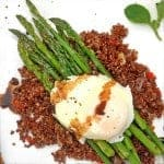Poached Egg over Asparagus & Crispy Quinoa