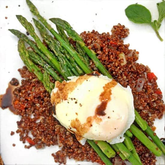 Poached Egg over Asparagus and Crispy Quinoa Recipe