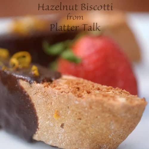A close up of a hazelnut biscotti