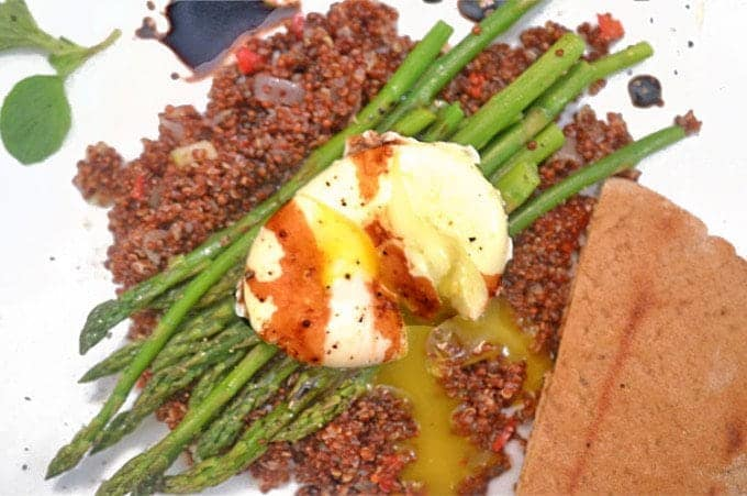 Apsaragus and Eggs, featuring Poached Egg over Asparagus and Crispy Quinoa Recipe