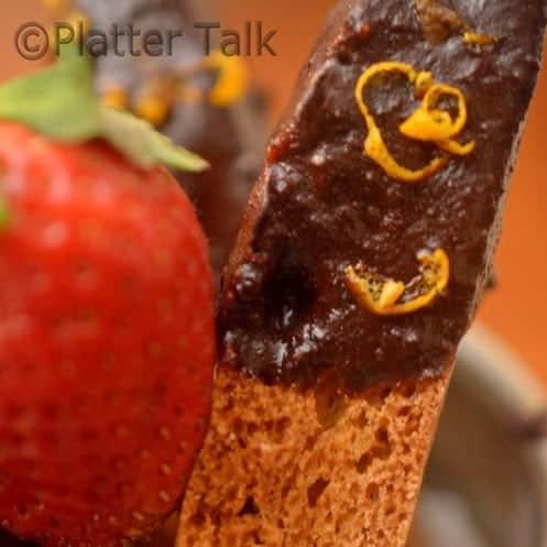 A close up of a single biscotti.