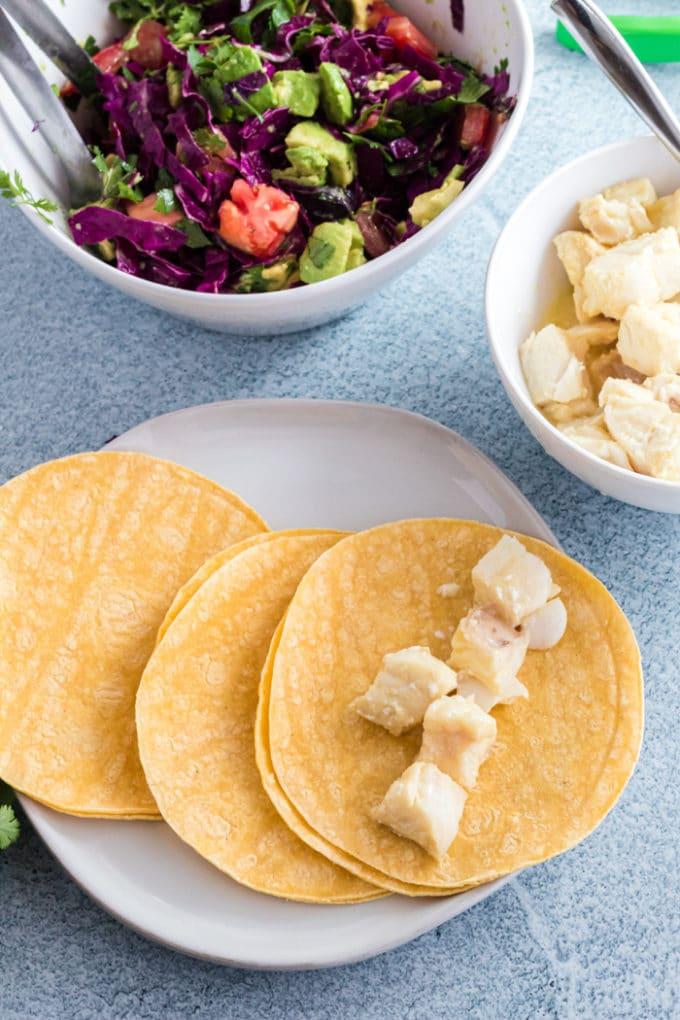 Tortillas and mahi-mahi for fish tacos.