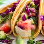 plate of fish tacos.