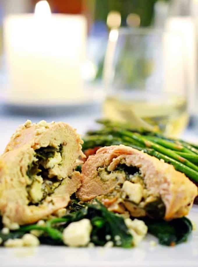 Spinach and feta chicken rollups from Platter Talk food blog make for an easy date night dinner.