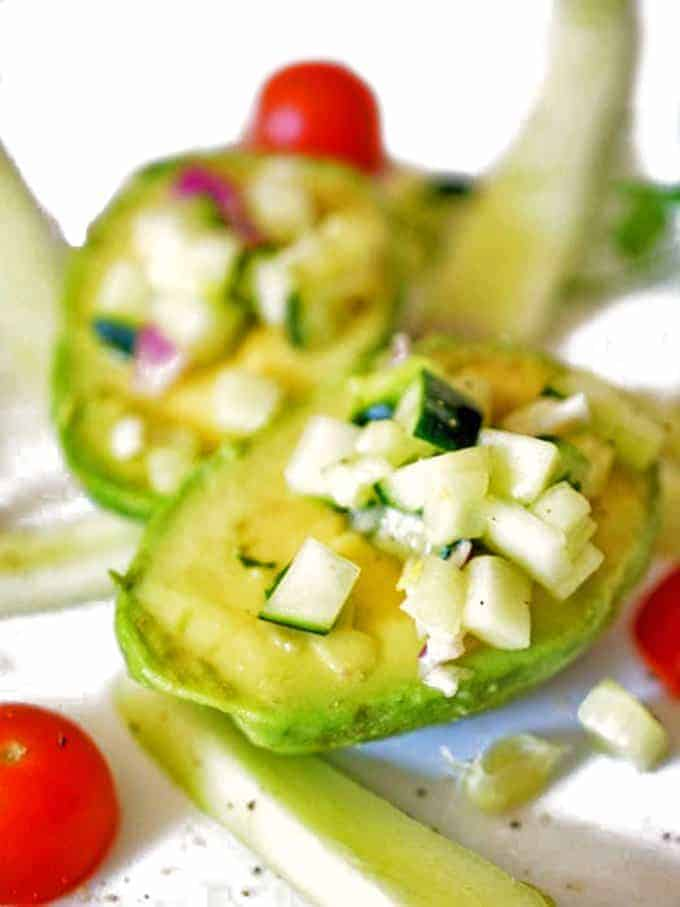 This light and healthy avocado cucumber salad is super simple to make.