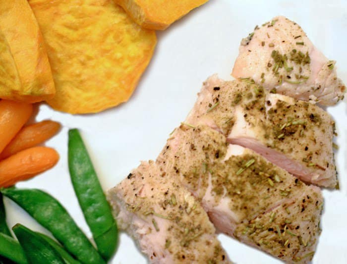 Serving of roasted turkey tenderloin with green beans and sweet potato wedges.
