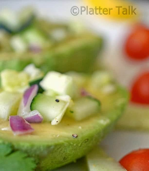 A close up of food, with Avocado and Platter