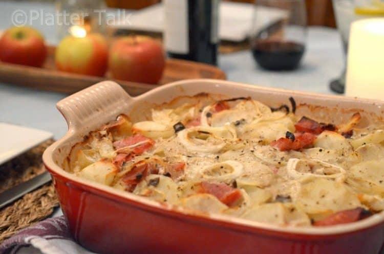 A pan of potatoes and ham.