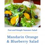 Mandarin orange salad garnished with blueberries.
