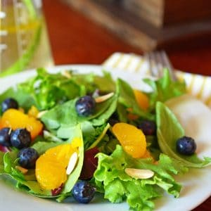 Lettuce greens with Mandarin orange slices and blueberries.