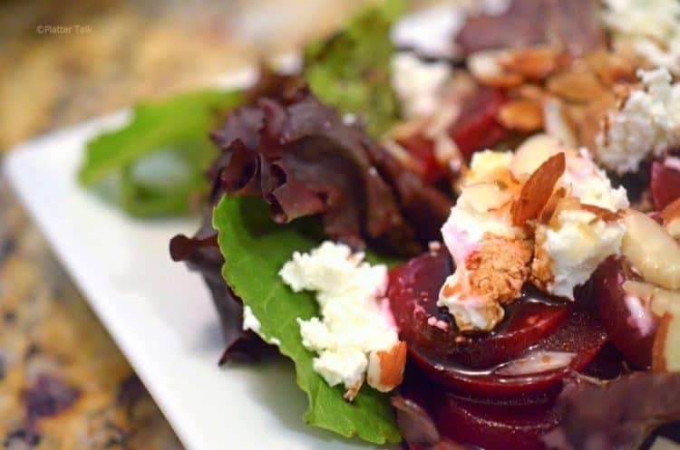 A close-up of beet salad.