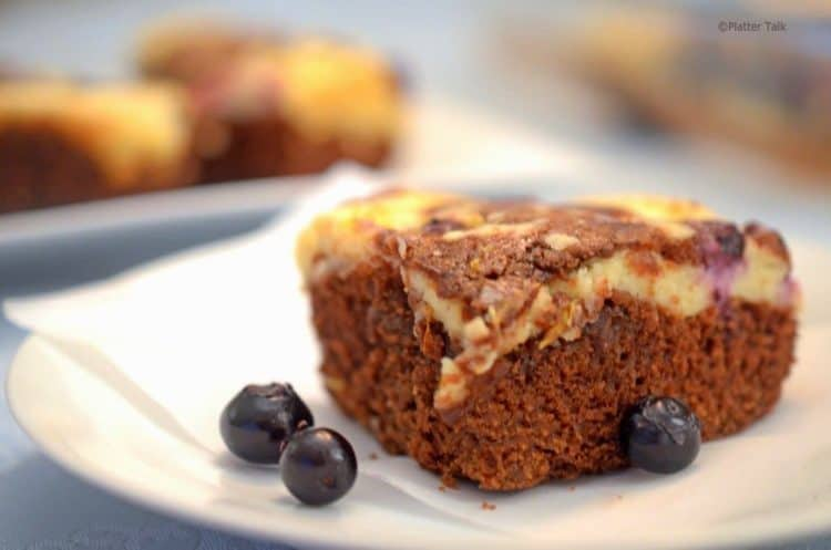 a slice of blueberry chocolate brownie