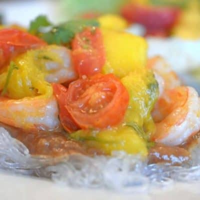 Asian Shrimp with Mango & Peach Chutney