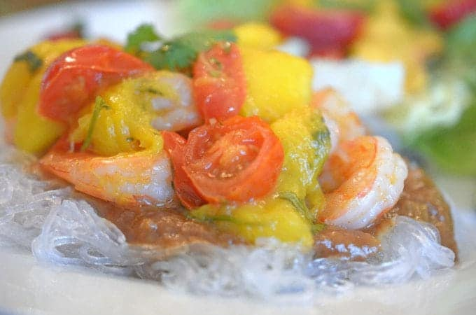 Asian Shrimp with Peach and Mango Chutney