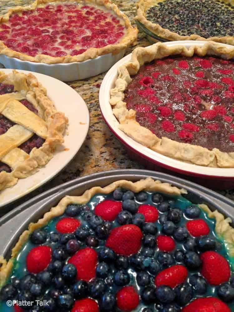 Raspberry custard pie and other homemade pies.