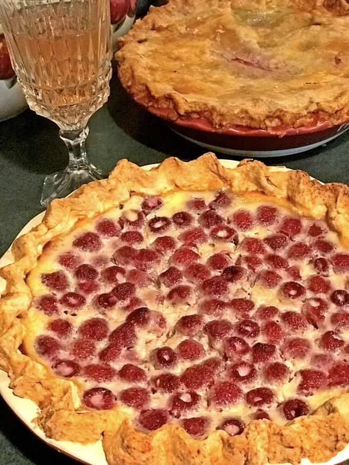 Raspberry pie and wine.