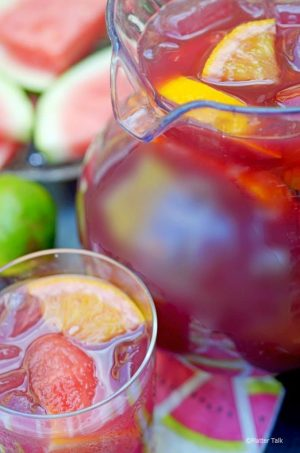 Pitcher of homemad red wine sangria
