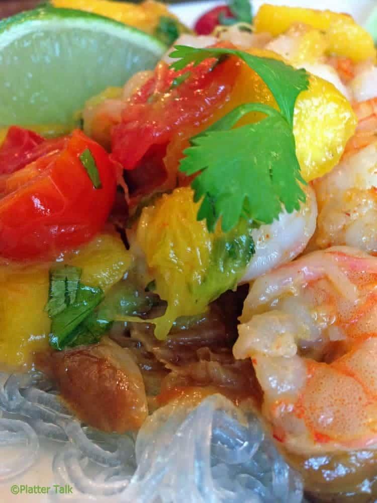 Shrimp with mango.