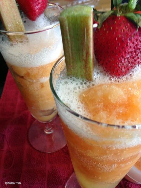 2 frosty glasses of rhubarb slush