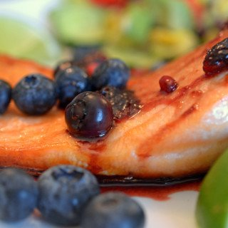 Grilled Salmon with Blueberry & Pomegranate Molasses Compote