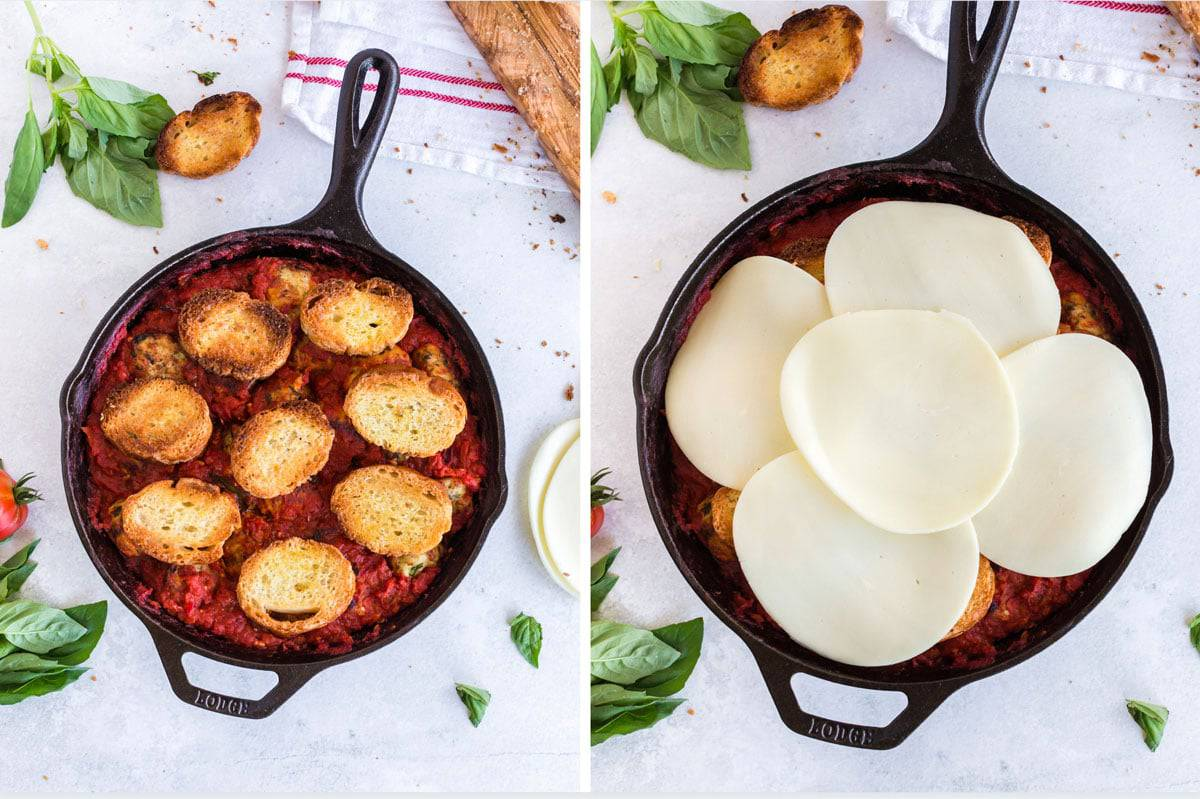 Skillet with meatballs and sauce with cheese