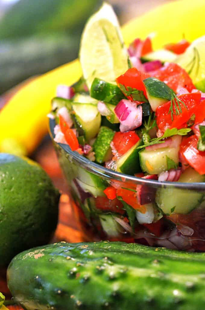This homemade salssa recipe features cucumber salsa and is low in carbs.