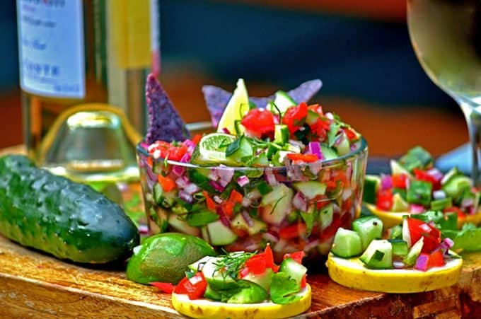 This cool cucumber salsa is a fresh homemade salsa recipe that can be put together in mintues!