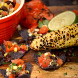 Grilled corn salsa on chips