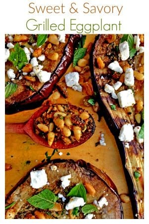 Toasted pineuts, fet cheese and freshherbs are just part of the flavory chorus in this sweet and savory grilled eggplant, a summertime grilled sensation.