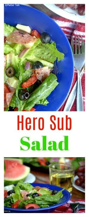 This hero sub salad from Platter Talk Food and Recipes is a healthy and delicious low-carb alternative to the submarine sandwich.