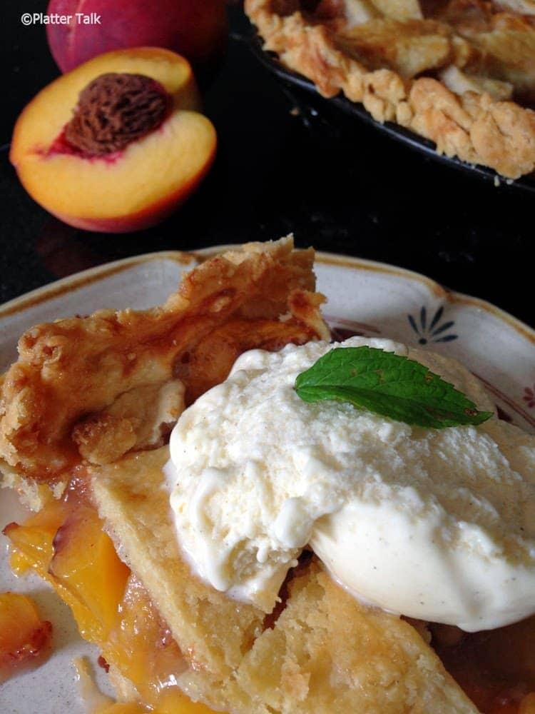 Peach Pie on Platter Talk with Homemade Pie Crust