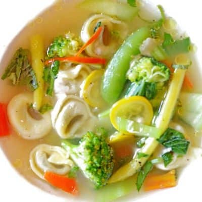 Tortellini in brodo d'estiva (broth of summer)