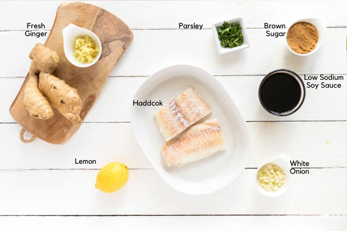 Haddock fillets, and ingredients for haddock marindade