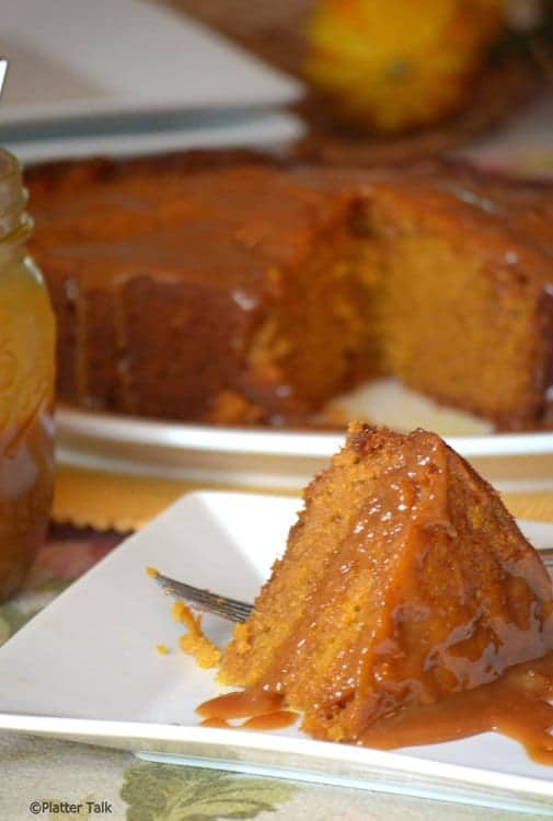 Plate of slow cooker dessert pumpkin cake.