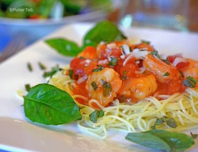 shrimp pasta on a plate.