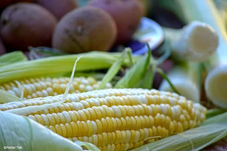 Fresh corn is one of the ingredients of potato leek chowder.