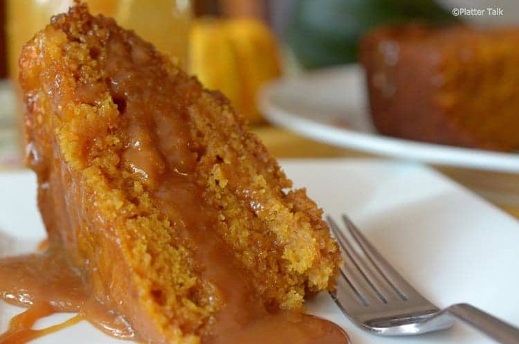Slice of pumpkin cake with a fork.