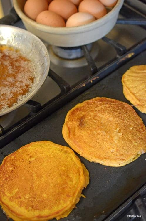 pumpkin pancakes on platter talk