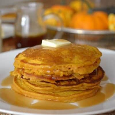 Pumpkin Pancakes with Apple Cider Syrup
